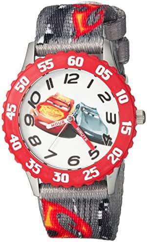 Disney Boy's 'Cars 3' Quartz Stainless Steel and Nylon Casual Watch, Color:Grey (Model: WDS000300)